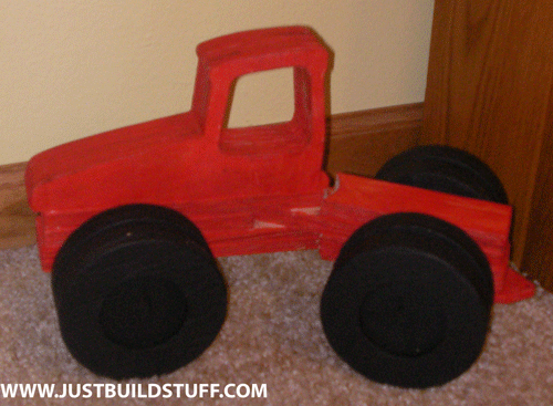 Prototype wooden toy tractor.